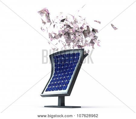 3d render of Solar panels and money