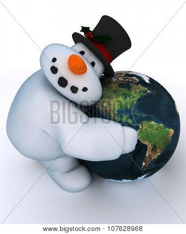 3D Render of a Snowman Character hugging a globe