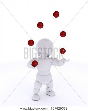 3D render of a man juggling with red balls