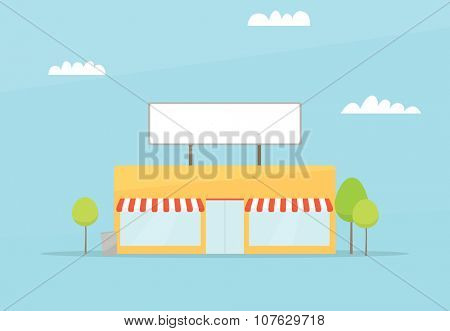 Cartoon store. flat simple design