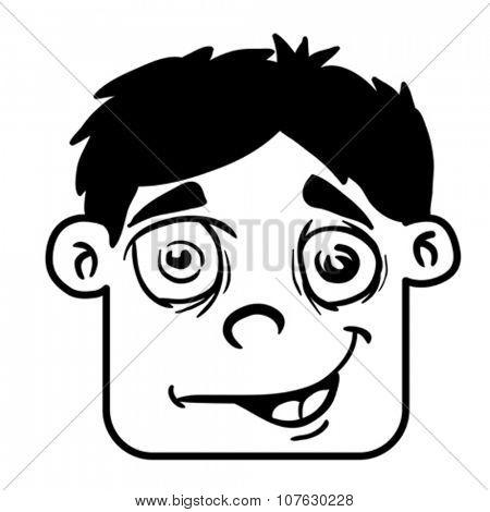 simple black and white smiling boy head cartoon illustration