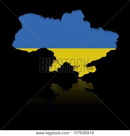 Ukraine map flag with reflection illustration
