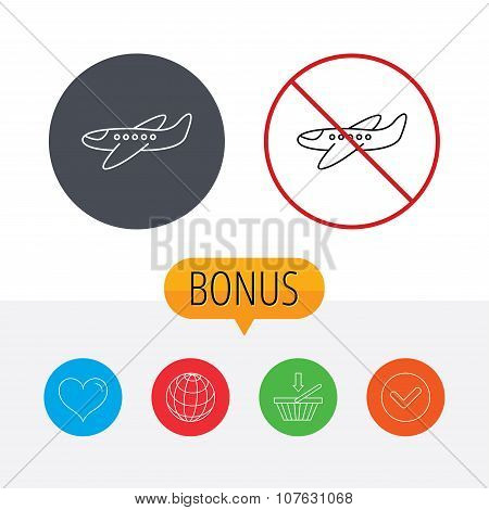 Airplane icon. Aircraft travel sign.