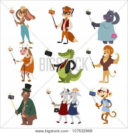Selfie shots animals cartoon vector illustration