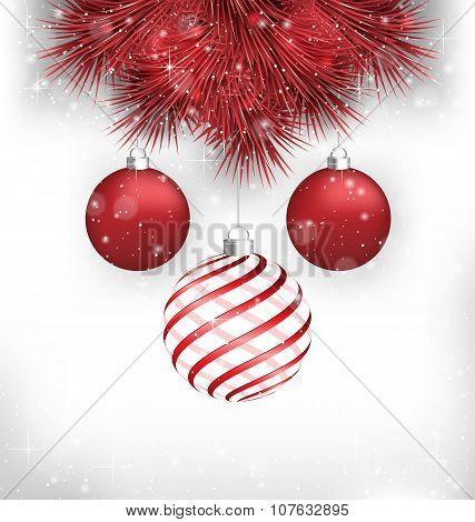Christmas Balls On Pine On Grayscale
