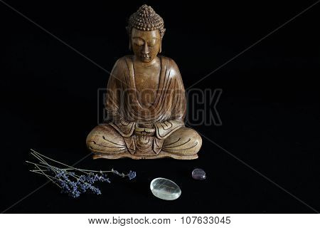 Wooden Buddha Statue With Crystals