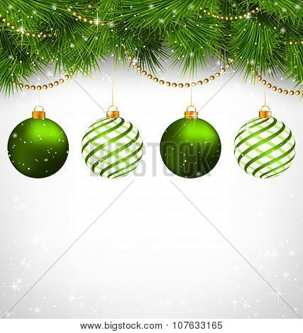 Christmas Balls On Pine Branches With Chains On Grayscale