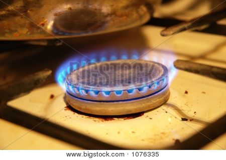 Blue Flames From The Dirty Gas Stove
