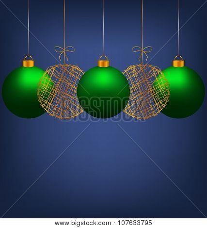 Christmas Balls On Blue