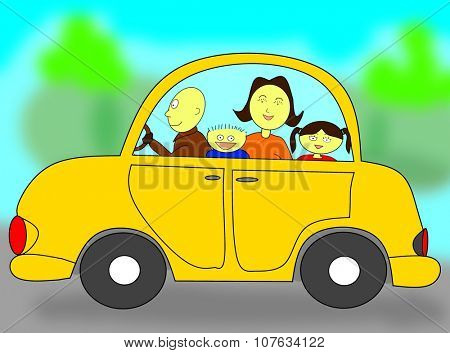 Happy family in a car