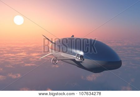 The airship above the clouds.