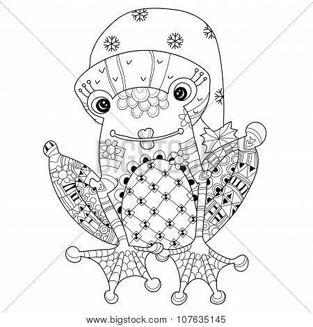Cute Frog Prince in christmas hat.Vector sketch.