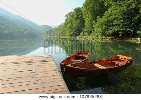 morning view of glacial Lake Biogradsko in forest of Biogradska Gora National Park, Montenegro