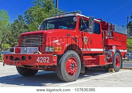 California-united States, July 12, 2014: Iconic Red Color American Fire Engine Equipped With Fire-fi