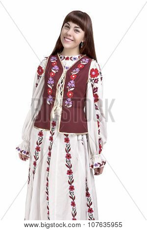 Portrait Of Smiling Brunette Lady Posing In National Flowery Costume