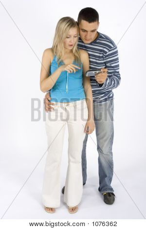 Couple With Mobile Phone/Palmtop