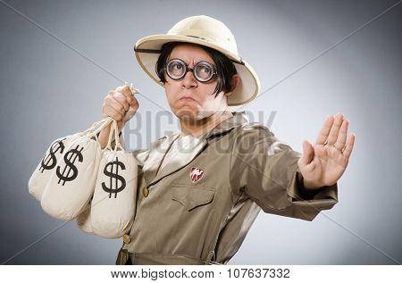 Funny safari traveller in travelling concept