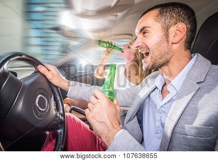 Couple Driving Drunk With In Car
