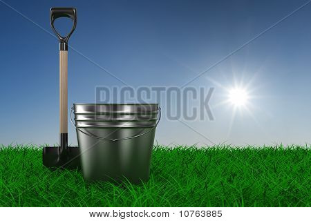 Shovel And Bucket On Grass. Garden Tool. 3D Image