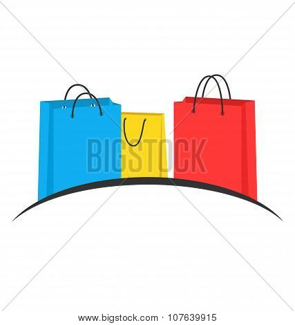 Three Multicolored Shopping Bags Like Emblem Isolated On White
