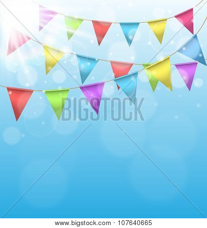 Buntings With Sun On Sky Background