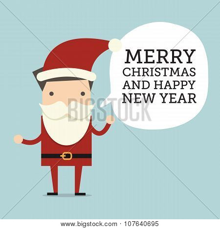 Christmas holiday card with Businessman Santa Claus