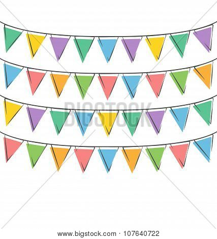 Hand-drawn Buntings Isolated On White