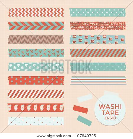 Set of vintage christmas washi tapes, ribbons