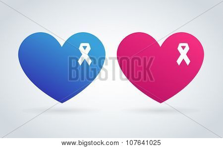 Stop cancer medical logo icon concept. Cancer white ribbon, breast cancer awareness symbol, isolated on background. Vector illustration of cancer ribbon for people cancer and human heart symbol