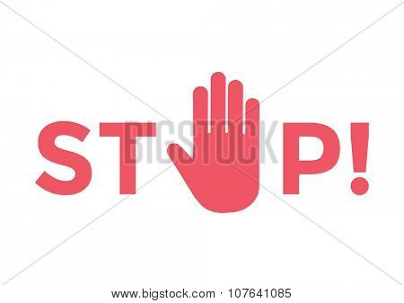 Stop hand sign. Human hand Stop symbol. Traffic stop hand. Hand icon logo silhouette. Hand stop vector illustration. Stop symbol. Stop sign vector icon