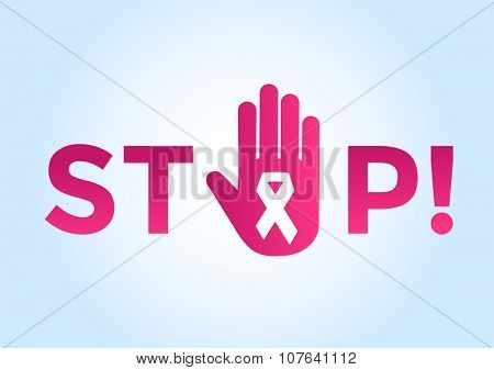 Stop cancer medical poster concept. Cancer pink ribbon, breast cancer awareness symbol, isolated on background. Vector illustration of cancer ribbon for people cancer and human hand Stop symbol