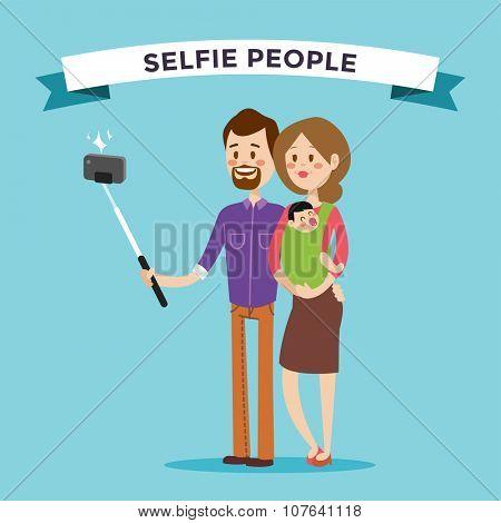 Selfie family portreit vector illustration. Selfie shot man, woman, small kid. Vector selfie people set. Selfie vector concept modern family with selfie photo camera. Family smile, family concept