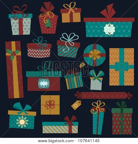 Colorful gift boxes with bows and ribbons vector set. Gift boxes vector illustration. Set of vector Christmas gift box. Christmas box isolated. Christmas and birthday gift box set. Holiday gift box