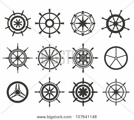 Vector rudder black and white flat icons set. Rudder wheel illustration. Boat wheel control rudder vector icons set. Rudders, ships, se, wheel, round, control, yacht, cruise. Rudder icon. Wheel icons