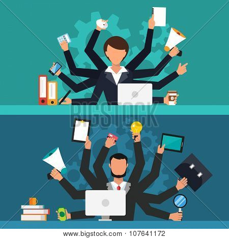 Office job stress work vector illustration. Stress on work. Business woman and man many hands. Office life business girl. and businessman Business situation. People in action. Computer, table, many