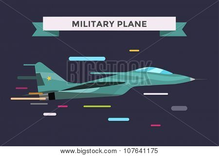 War military plane vector illustration. War airplane sky force fighter vector silhouette. War plane isolated flying on background. War military airplane vector isolated left view