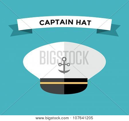 Captain hat flat vector icon. Sailor cap vector flat icon. Flat style captain sea hat. Vector illustration of captain vector hat with anchor. Sailor captain hat isolated. Sea, ship, travel, command