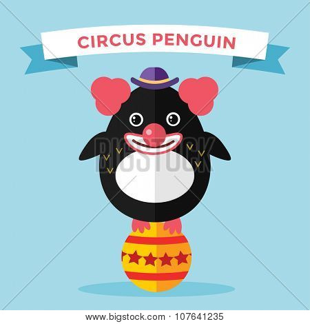 Cartoon penguin character vector illustration. Cartoon funny penguin circus clown. Penguin clown, circus, clown face, funny penguin. Cartoon penguin vector illustration. Penguin vector character