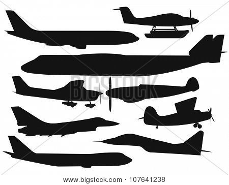Civil aviation travel passanger air plane black vector silhouette. Civil commercial airplane flying vector illustration. Travel plane black icons isolated on white background. Cargo transportation