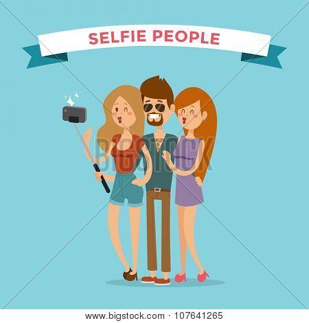 Selfie young couple friends portreit vector illustration. Selfie shot man, woman girls, friends together Vector selfie people set. Selfie vector concept modern friends with selfie photo camera. People