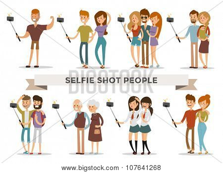 Selfie shots family and couples vector illustration. Selfie shot man, woman, teenagers, pensioners, gays. Vector selfie people set. Selfie vector concept modern life with selfie photo camera. Selfie