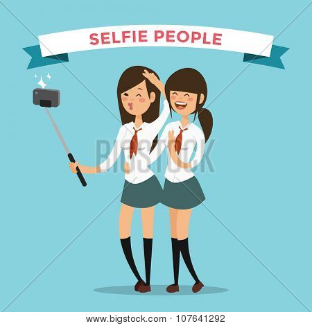 Selfie shots yong teenager school girls couple vector illustration. Selfie shot girls, friends. Vector selfie people set. Selfie vector concept modern life with selfie photo camera. Selfie smile
