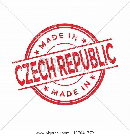 Made in Czech Republic red vector graphic. Round rubber stamp isolated on white background.