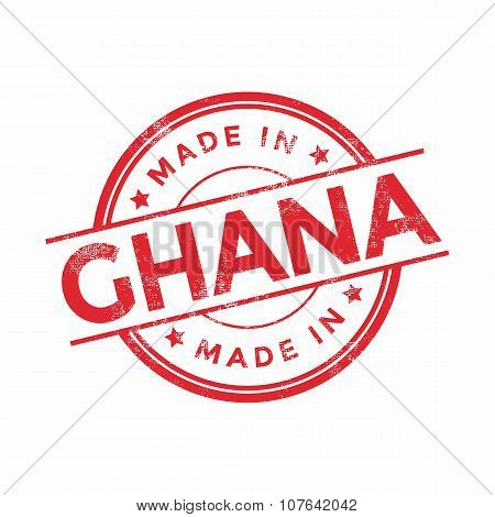 Made in Ghana red vector graphic. Round rubber stamp isolated on white background.