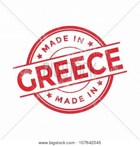 Made in Greece red vector graphic. Round rubber stamp isolated on white background.
