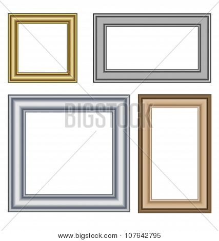 Four Multicolored Frames Isolated On White