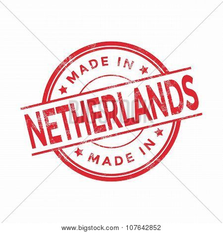 Made in Netherlands red vector graphic. Round rubber stamp isolated on white background.