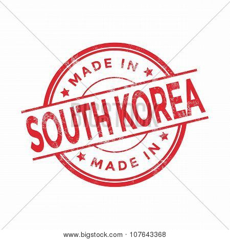 Made in South Korea red vector graphic. Round rubber stamp isolated on white background.