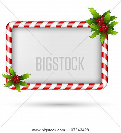Candy Cane Frame With Holly On White