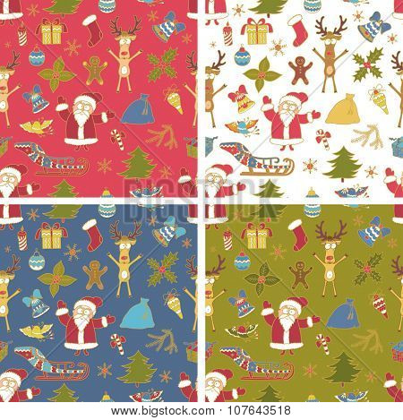Set of Seamless Colorful Christmas Patterns.